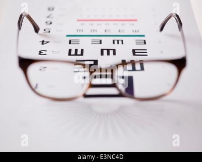 Close-up of glasses on eye exam chart - Stock Photo