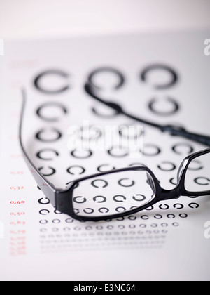 Close-up of alphabet C on eye exam chart seen through glasses - Stock Photo