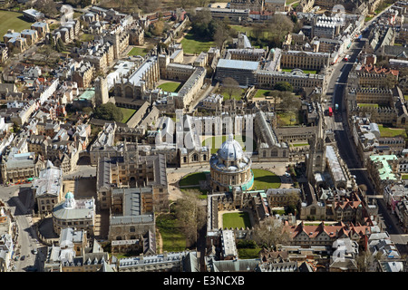 aerial view of Oxford city centre and Oxford University colleges - Stock Photo