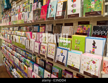 Rows Of Greeting Cards And Birthday On Display In A Card Store