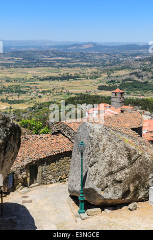 The granite rocks forming part of the medieval village Monsanto, Portugal - Stock Photo