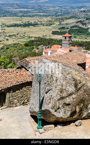 Granite rock forming part of the medieval village Monsanto, Portugal - Stock Photo