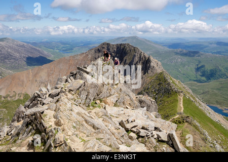 View from Crib y Ddysgl to Crib Goch ridge on Snowdon Horseshoe in mountains of Snowdonia National Park (Eryri) - Stock Photo