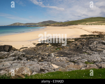 Long stretch white sand of Traigh Lar beach South Harris Outer Hebrides Western Isles - Stock Photo