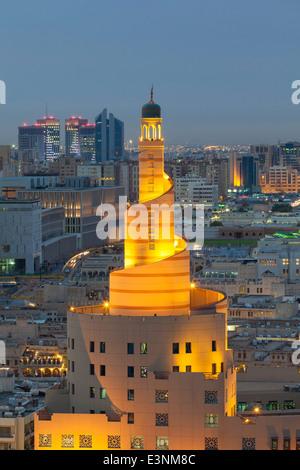 Doha, Qatar, the spiral mosque of the Kassem Darwish Fakhroo Islamic Centre - Stock Photo