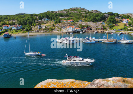 View of of Hamburgersund a coast village on the Swedish west coast - Stock Photo