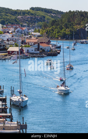 View of of an old fishing village Hamburgersund on the Swedish west coast - Stock Photo