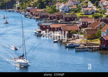 View of of an old fishing village Hamburgersund on the Swedish west coast - Stock Photo