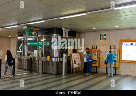 Commuters buying Metro tickets from ticket machines, Prague, Czech Republic. Stock Photo