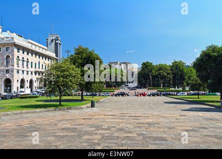 view in Piazza della Vittoria in Genoa, Liguria, Italy. On background Brignole rail station - Stock Photo