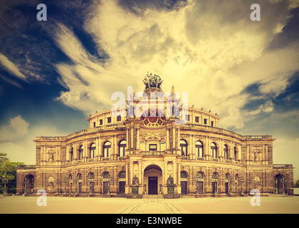Dresden opera theater, Germany, retro vintage effect. - Stock Photo