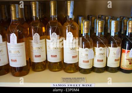 Local sweet white wine, Pythagoreio, Samos, Aegean Sea, Greece, Europe - Stock Photo