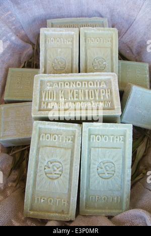 Olive oil soap bars, souvenir shop, Pythagoreio, Samos, Aegean Sea, Greece, Europe - Stock Photo