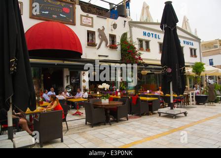 Restaurants, marina the yacht harbour, central Bodrum, Turkey, Asia Minor - Stock Photo