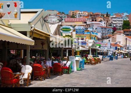 Restaurants on seaside promenade, Pythagoreio, Samos, Aegean Sea,Greece, Europe - Stock Photo