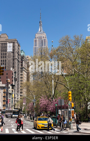 A Sunny Spring Day,  The Empire State Building from Madison Square Park at 23nd Street  and Fifth Avenue  , NYC - Stock Photo