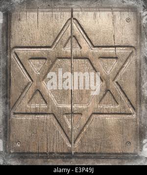Star of David - textured detail of wooden door in Safed. - Stock Photo