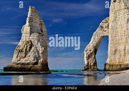 France, Normandy: Rock arcs of the beach of Etretat - Stock Photo