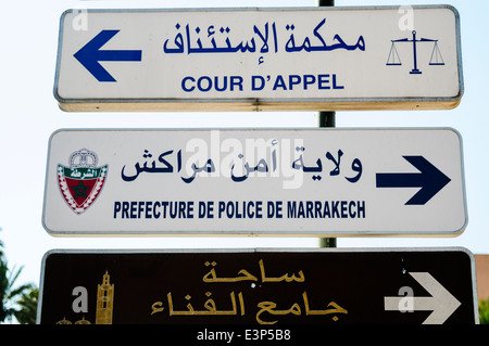 Signs for the Prefecture De Police de Marrakech, police station, and the Cour D'Appel, Marrakech, Morocco - Stock Photo