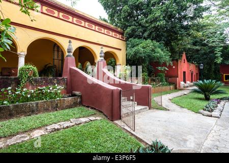 Entrance to the Hacienda Misne in Merida, Yucatan, Mexico. - Stock Photo