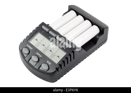 Intelligent accumulator battery charger with AA batteries - Stock Photo