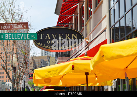 Tavern on Rush, Sign, Restaurant on Rush St. and Bellevue Pl, Chicago, Illinois - Stock Photo