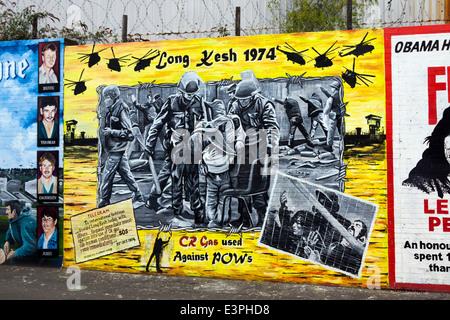 Political mural of Long Kesh Prison, Falls Road, West Belfast, County Antrim, Northern Ireland, United Kingdom. - Stock Photo
