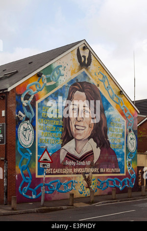 Mural of the hunger-striker Bobby Sands on Falls Road, West Belfast, County Antrim, Northern Ireland, United Kingdom. - Stock Photo
