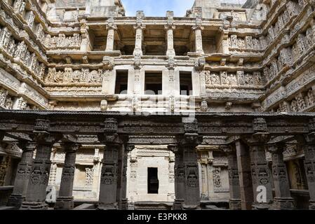 The great facade of 'Rani-ki-Vav'. Rani Ki Vav is one of the finest stepwells in India. It is a stepwell in Gujarat - Stock Photo
