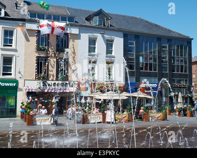 The fountain in Williamson Square in Liverpool UK - Stock Photo