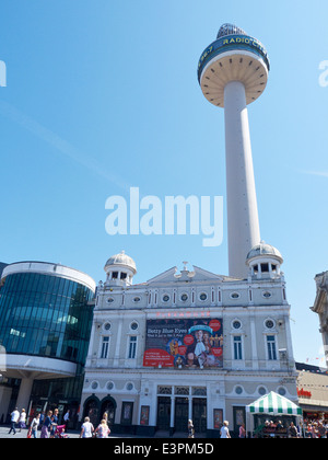 Playhouse theatre on Williamson Square with St Johns Beacon in Liverpool Merseyside UK - Stock Photo