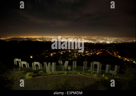 The backside of the Hollywood sign in los angeles, California - Stock Photo
