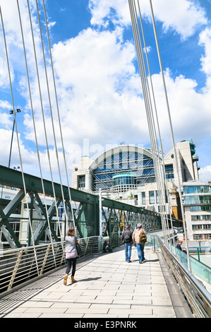 Golden Jubilee Bridge and Charing Cross railway station, London, England, UK - Stock Photo