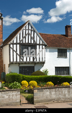 UK England, Suffolk, Lavenham, High Street, timber framed gable of Little Kentwell historic half timbered house - Stock Photo