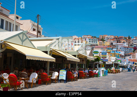 Restaurants on seaside promenade, Pythagoreio, Samos, Aegean Sea, Greece, Europe - Stock Photo