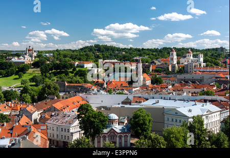 View of Vilnius old town on summer day - Stock Photo