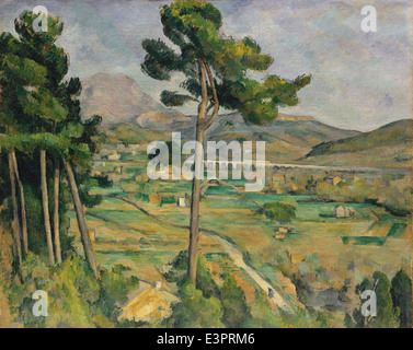 Paul Cézanne - Mont Sainte-Victoire and the Viaduct of the Arc River Valley - 1885 - MET Museum - New-York - Stock Photo