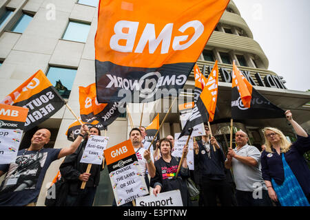 London, UK. 27th June, 2014. GMB and LGBT protest outside Park Lane hotel in London over homophobic laws Credit: - Stock Photo