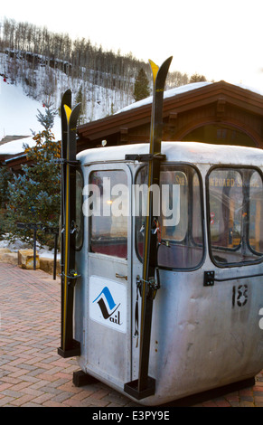 old antique gondola and skiis in Vail Colorado - Stock Photo