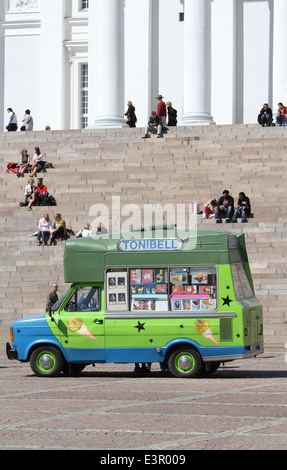 An ice-cream van in front of the Lutheran Cathedral Helsinki Finland - Stock Photo