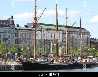 Sailing ships berthed alongside Pohjoisranta at the North Harbour Helsinki Finland - Stock Photo