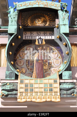 Detailed view of Anker clock, the astronomical clock in Art Nouveau style located in Vienna (Austria) - Stock Photo