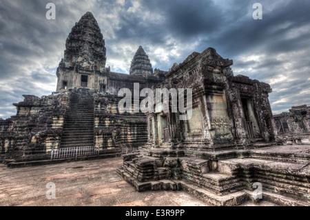 High dynamic range (hdr) image of Angkor Wat - famous Cambodian landmark Siem Reap, Cambodia - Stock Photo