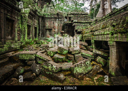 High dynamic range (hdr) image of ancient stone ruins of Ta Prohm temple, Angkor, Cambodia - Stock Photo