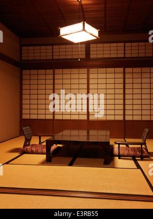 Japanese tea table chabudai and zaisu chairs at a ryokan in Gero, Gifu, Japan. - Stock Photo