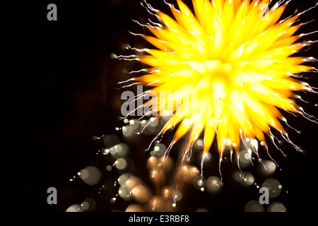 Abstract Fireworks in the Night Sky - Stock Photo