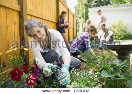 Multi-generation family planting flowers in garden - Stock Photo