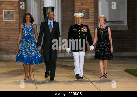 Washington, DC. 27th June, 2014. United States President Barack Obama, left, First Lady Michelle Obama, center left, - Stock Photo