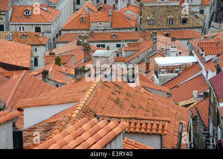 Dubrovnik city rooftops, Croatia - Stock Photo