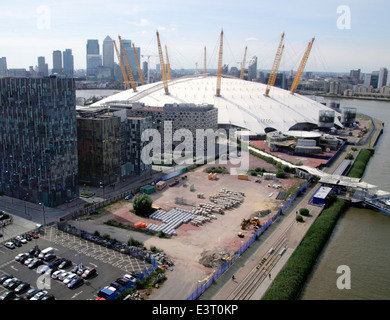 O2 Arena and London skyline aerial view from Emirates Air Line Cable Car - Stock Photo